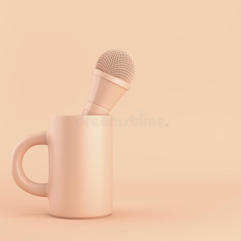 Free Coffee Mug With Microphone On Bright Background Stock Photos - 113223833