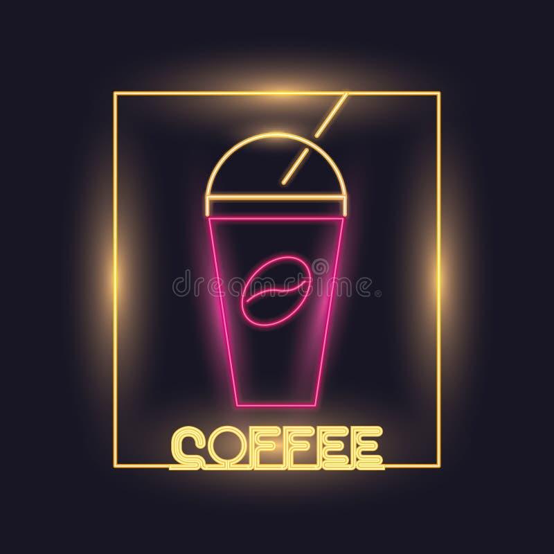 Coffee neon lights icon vector illustration