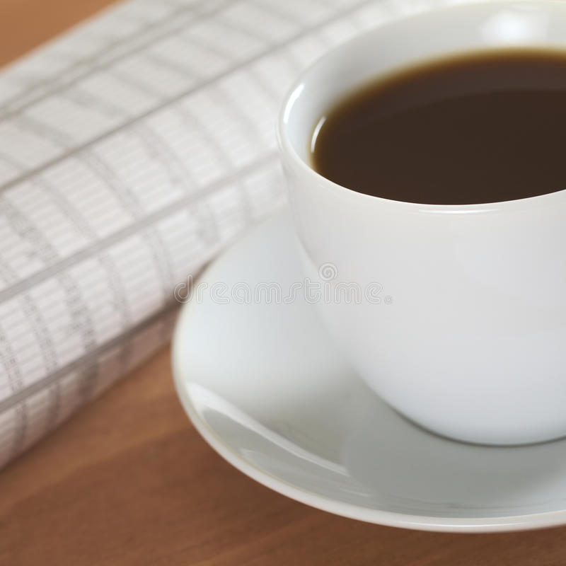 Coffee With Newspaper Stock Photography
