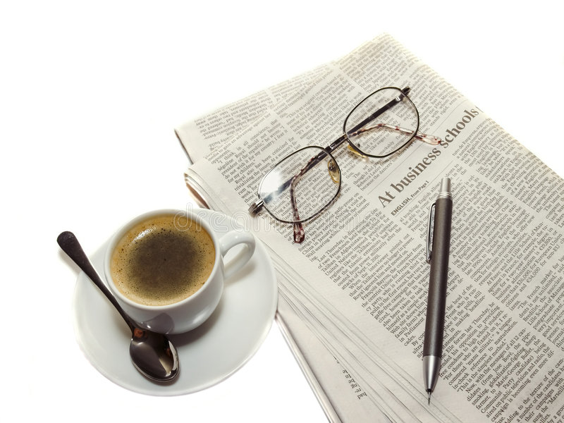 Download Coffee, The Newspaper, Pencil Stock Image - Image: 3115113