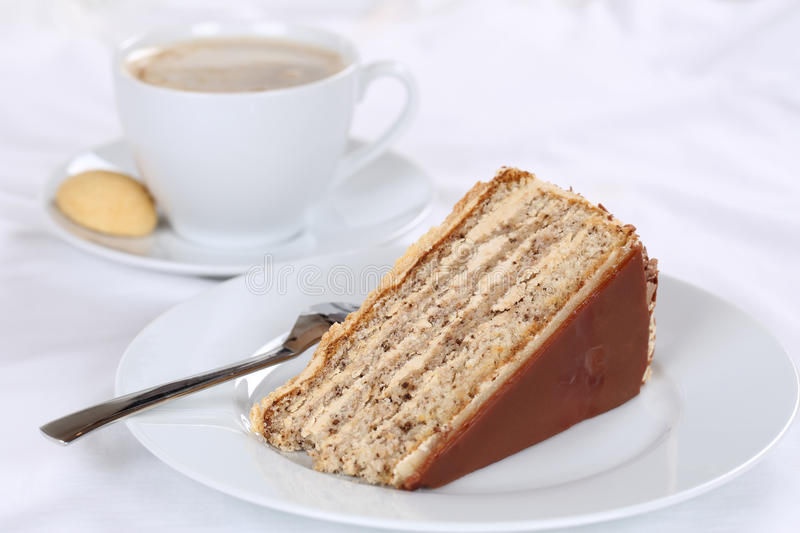 Coffee and nut cake tart dessert. Sweet pastry royalty free stock photography