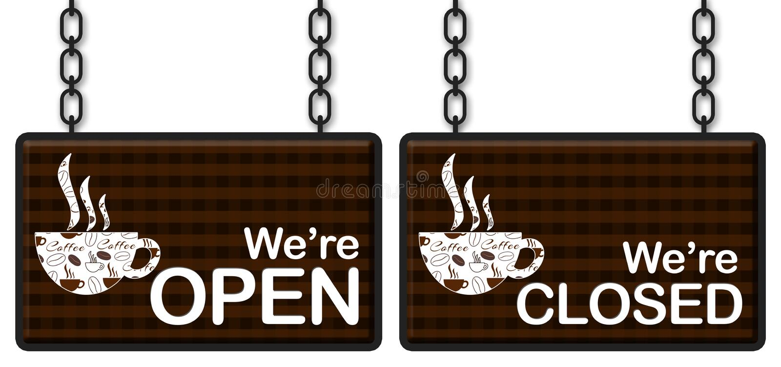Coffee Open Closed royalty free illustration