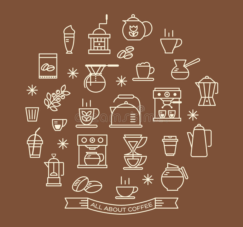 Coffee outline icons set vector illustration