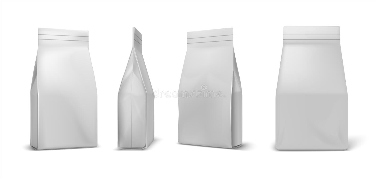 Coffee package. White paper bag mockup, blank food pack isolated on white background. Vector clear pouch for sugar vector illustration