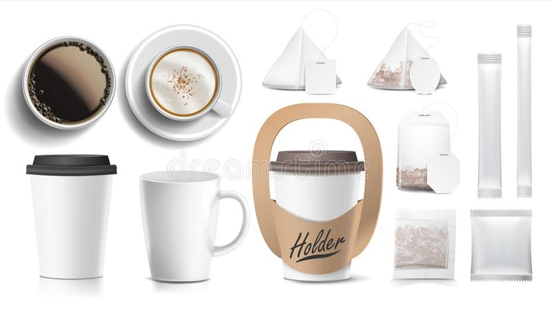 Coffee Packaging Design Vector. Cups Mock Up. White Coffee Mug. Ceramic And Paper, Plastic Cup. Top, Side View. Holder. For Carrying One Cup. Blank Foil vector illustration