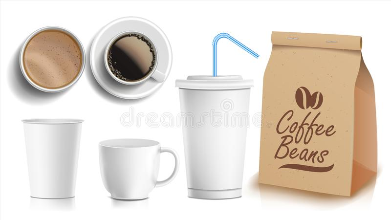 Coffee Packaging Design Vector. Cups Mock Up. White Coffee Mug. Ceramic And Paper, Plastic Cup. Top, Side View. Blank vector illustration