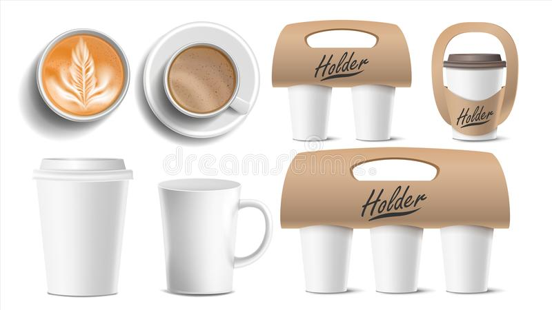 Coffee Packaging Vector. Cups Mock Up. Ceramic And Paper, Plastic Cup. Top, Side View. Cups Holder For Carrying, One. Two, Three Cups. Hot Drink. Take Away royalty free illustration