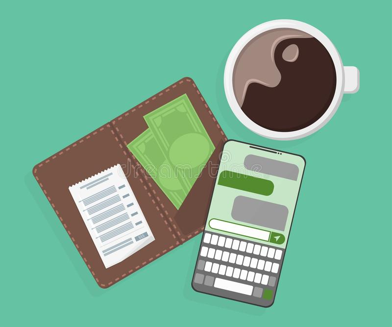 Coffee, paid bill and phone on the table stock illustration