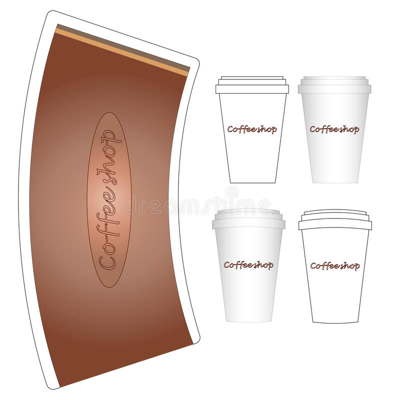 Coffee paper cup mock-up layout vector illustration