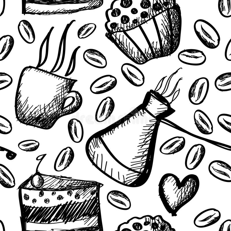 Download Coffee pattern stock illustration. Image of doodles, pattern - 23778984