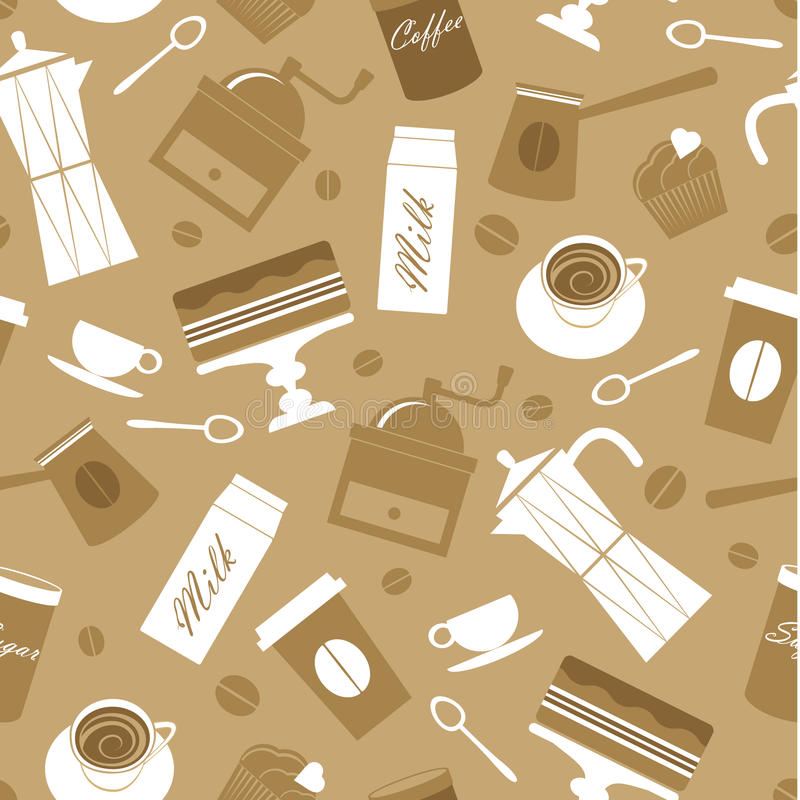 Download Coffee pattern stock illustration. Image of kitchen, wallpaper - 25207020
