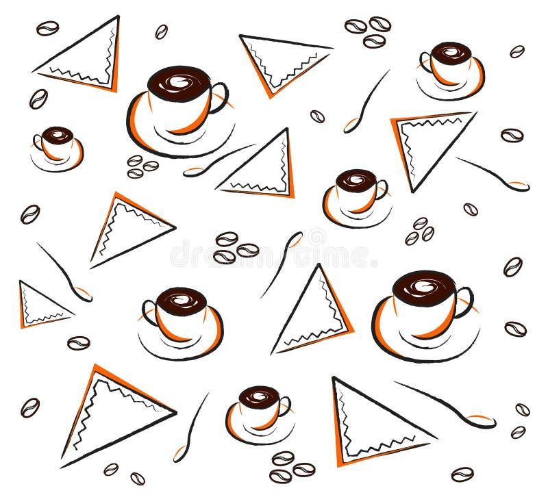 Coffee pattern on white