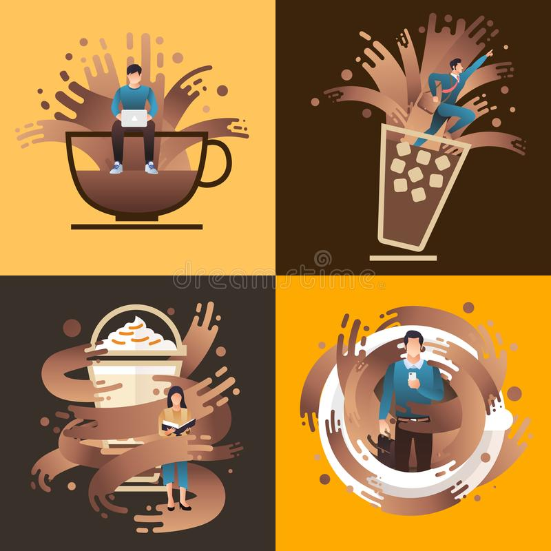 Coffee People royalty free illustration