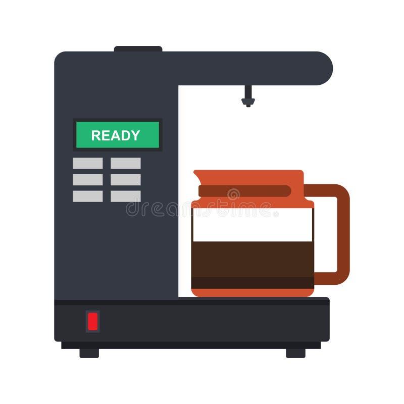 Coffee percolator vector icon drink espresso cup. Maker caffeine machine french press. Bean equipment flat isolated vector illustration