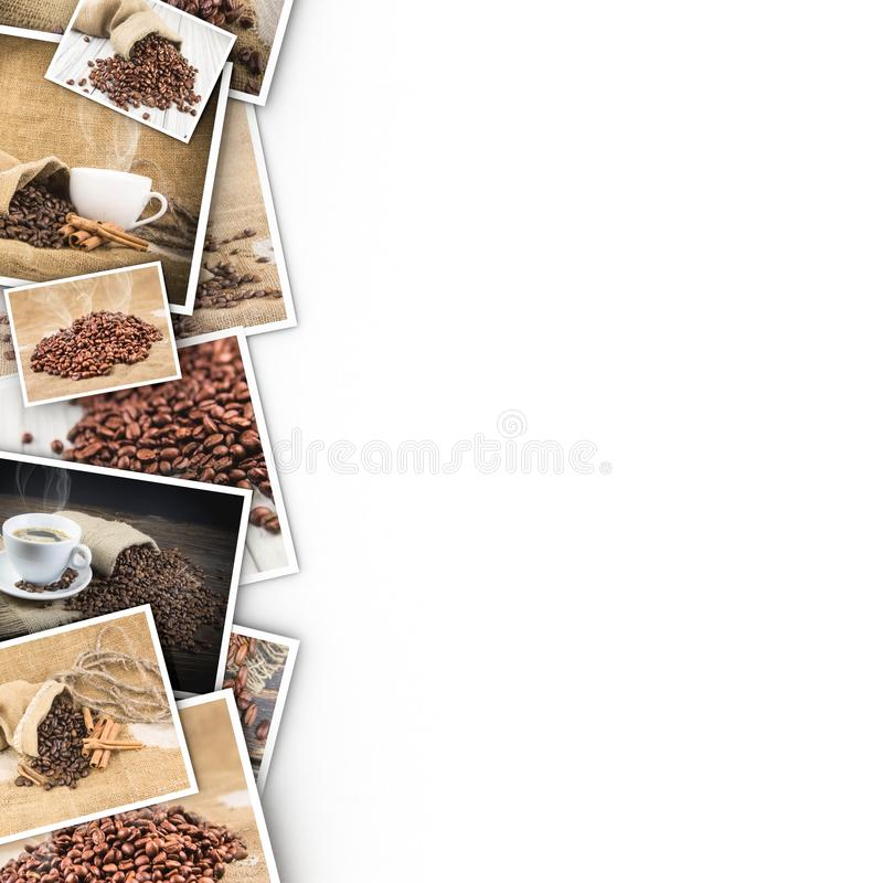 Coffee in photos on a white background. Photos are taken from my collection royalty free stock photography
