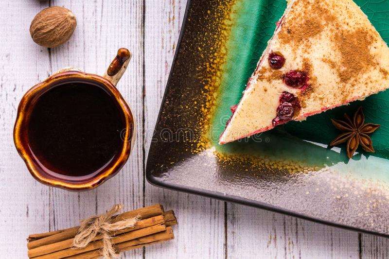 Coffee, pie, chocolate candies and box on a white background. royalty free stock image