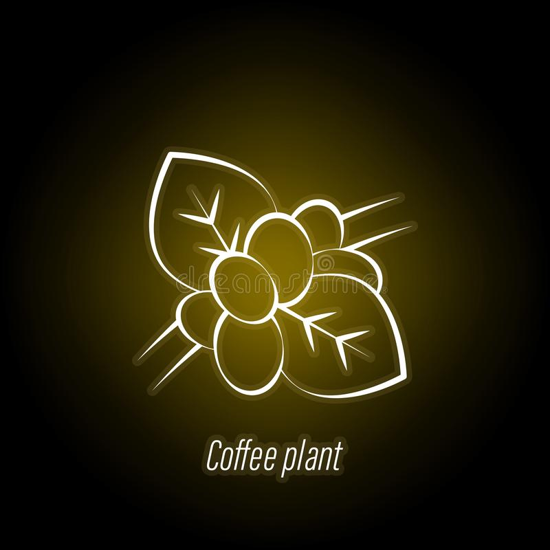 Coffee plant hand draw neon icon. Element of coffee illustration icon. Signs and symbols can be used for web, logo, mobile app, UI. UX on black background vector illustration