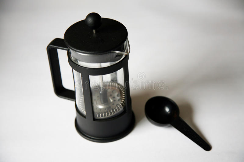 Coffee plunger. With a scoop stock photo