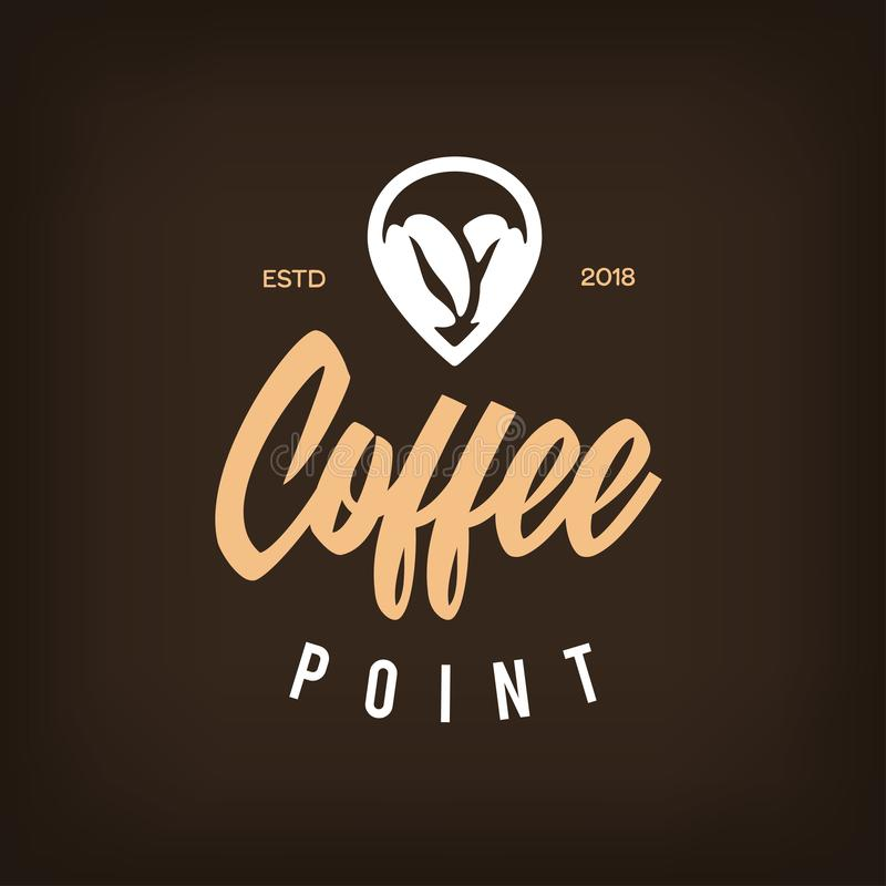 Coffee Point Logo . Coffee Emblem. Cup, Coffee Beans And