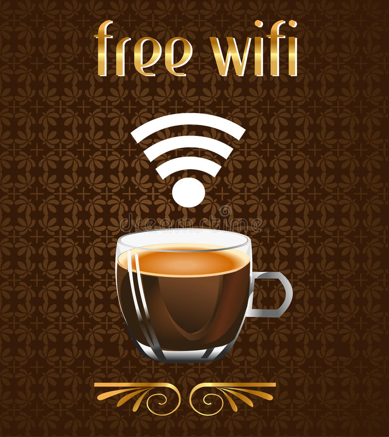 Coffee Poster With Free Wifi Message In Vector Eps Stock