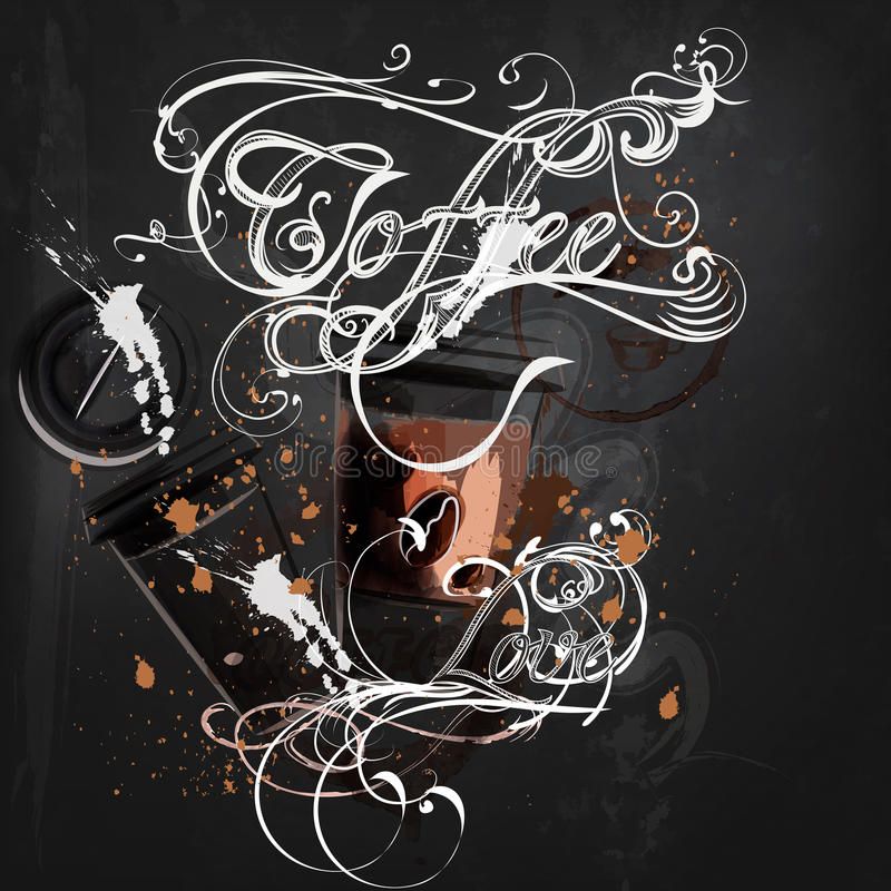 Coffee poster with mugs of coffee calligraphic signature in vintage style drawing on a blackboard vector illustration