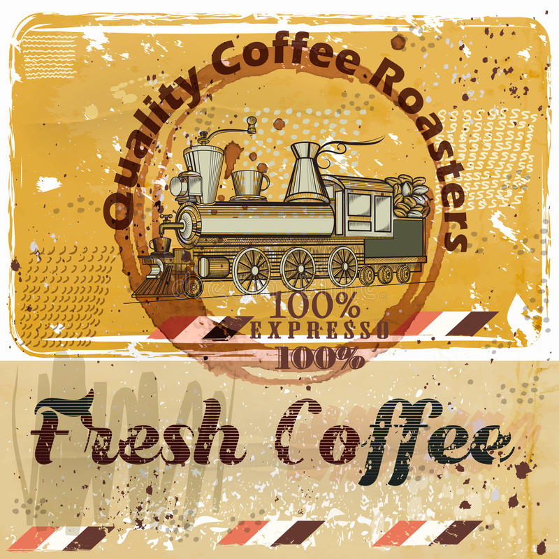Coffee poster with train, coffee grains on a grunge retro stock illustration