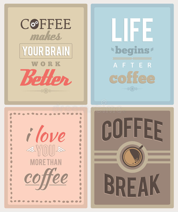 Coffee posters. Set of four coffee posters. EPS8 stock illustration