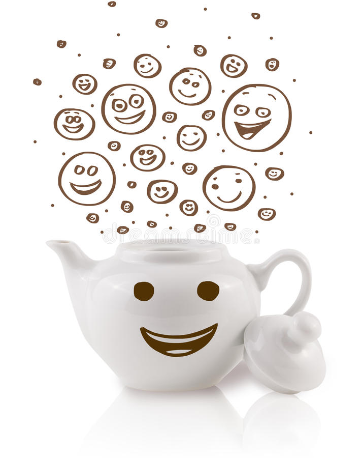 Coffee-pot with brown hand drawn happy smiley faces. Isolated on white royalty free stock photos