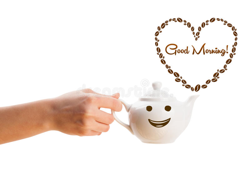 Coffee pot with coffee beans shaped heart with good morning sign stock images