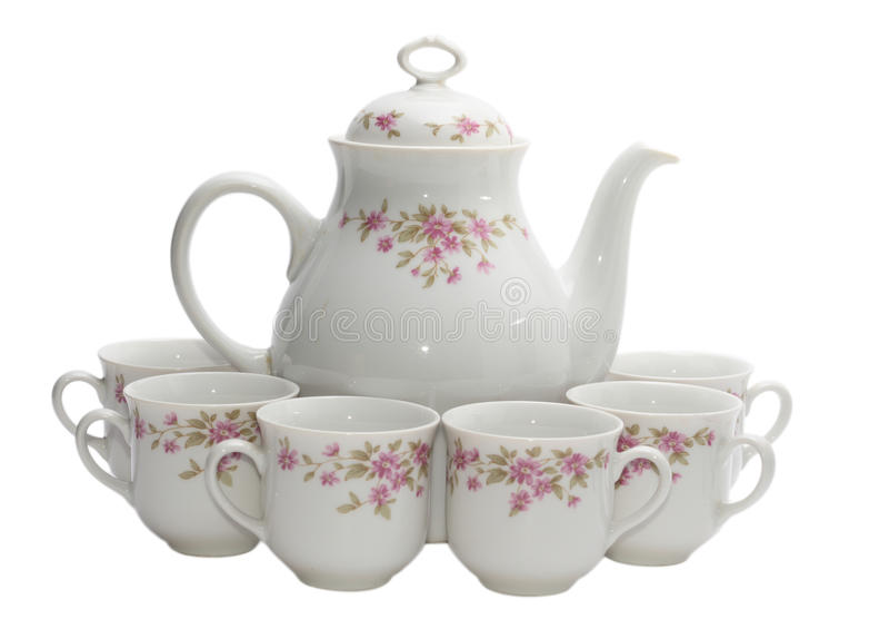 Coffee-pot con sei tazze fotografia stock libera da diritti
