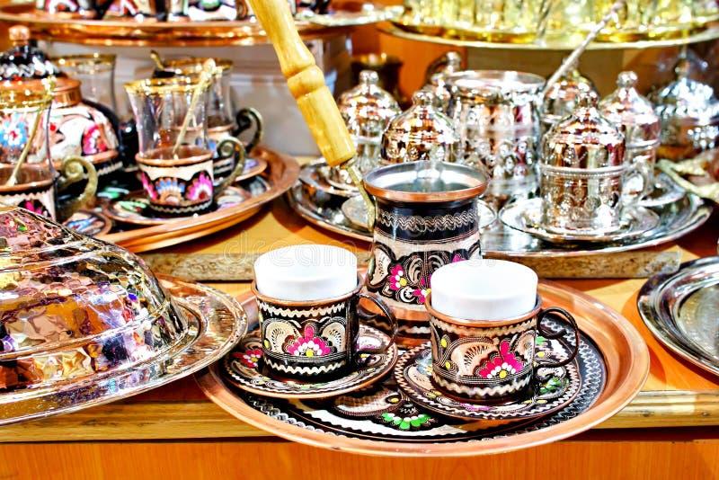 Coffee pot set. Souvenir coffee pot set on display at Grand Bazaar royalty free stock photo