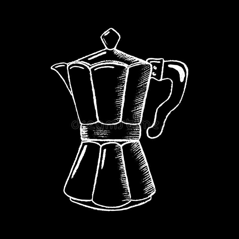 Coffee pot white chalk on black chalkboard illustration. Coffee-maker icon on blackboard. Coffee bar or cafe logo. Coffee drinking symbol. Stove coffee pot royalty free illustration