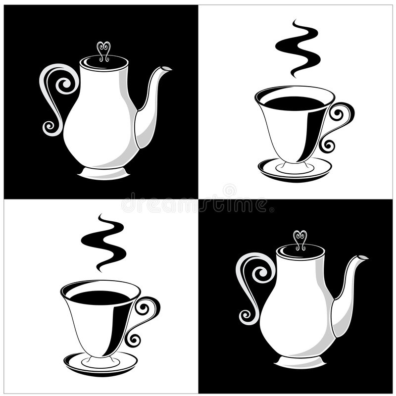 Coffee pots and cups vector illustration