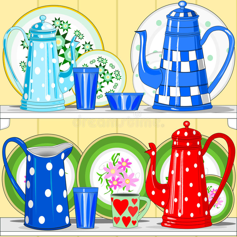 Download Coffee pots and dishes stock vector. Illustration of plate - 26566839
