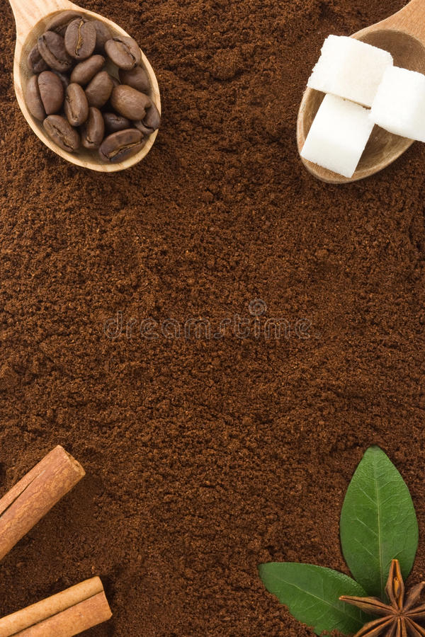 Coffee powder and beans as background royalty free stock photography