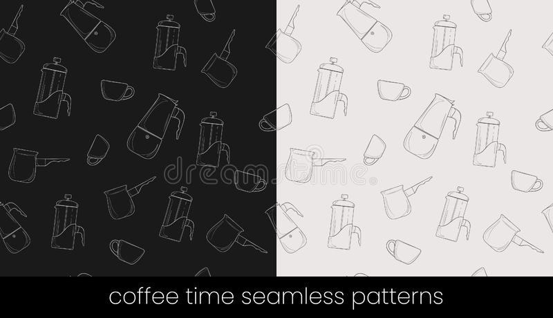 Coffee preparation seamless patterns, great design for any purposes. Seamless vector background stock illustration