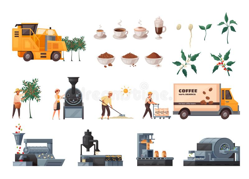 Coffee Production Set royalty free illustration