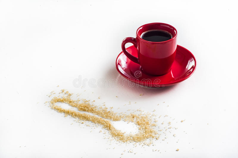 Coffee in red. Cup isolated on white background stock photography
