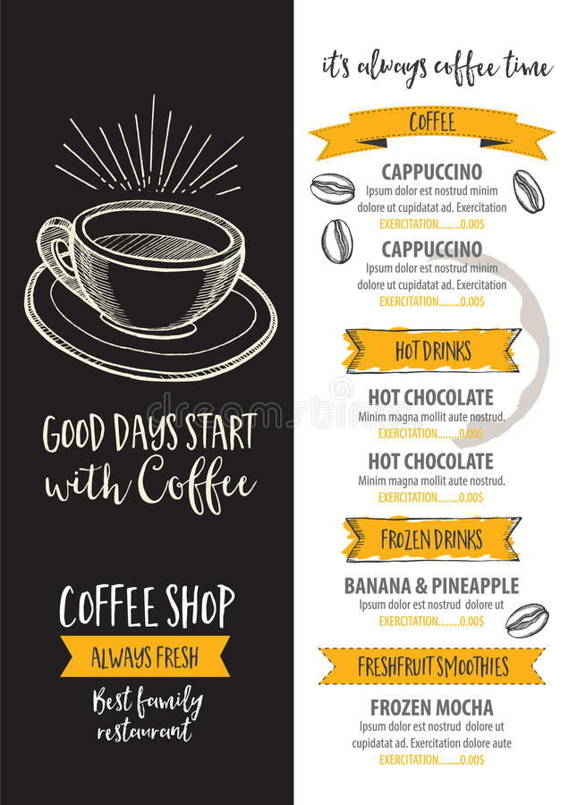 Coffee restaurant cafe menu, template design. royalty free illustration