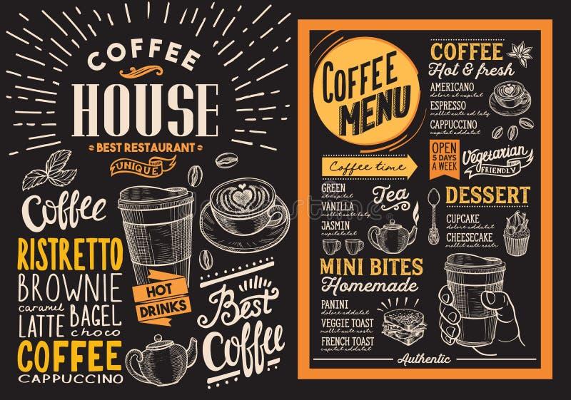 Coffee restaurant menu. Vector drink flyer for bar and cafe. Design template on blackboard background with vintage hand-drawn foo vector illustration