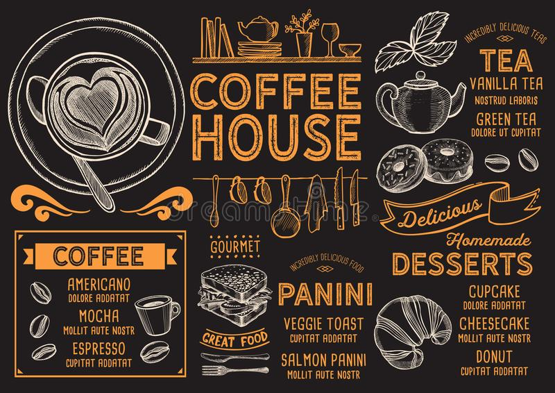 Coffee menu restaurant, drink template. Coffee restaurant menu. Vector drink flyer for bar and cafe. Design template with vintage hand-drawn food illustrations vector illustration