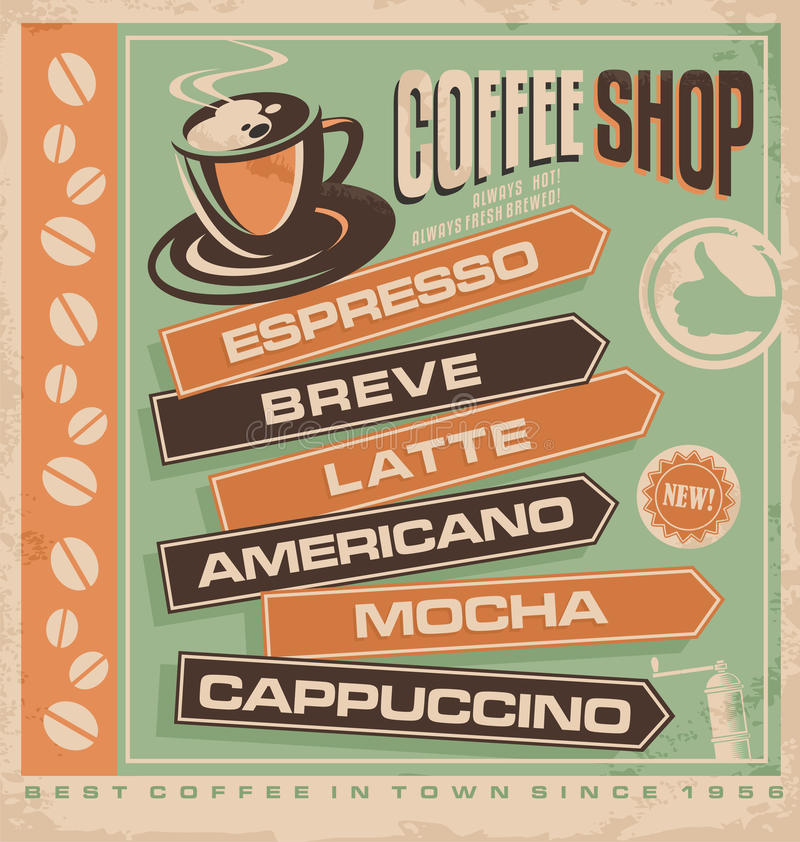 Coffee. Retro vector design concept for coffee shop. Cafe bar vintage ad template. Best coffee in town promotional concept for printing material or restaurant