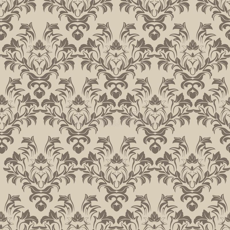Coffee rhombic seamless pattern on cream background. Vector coffee rhombic seamless pattern on a cream background of twigs and leaves.Print for wrapping paper stock illustration