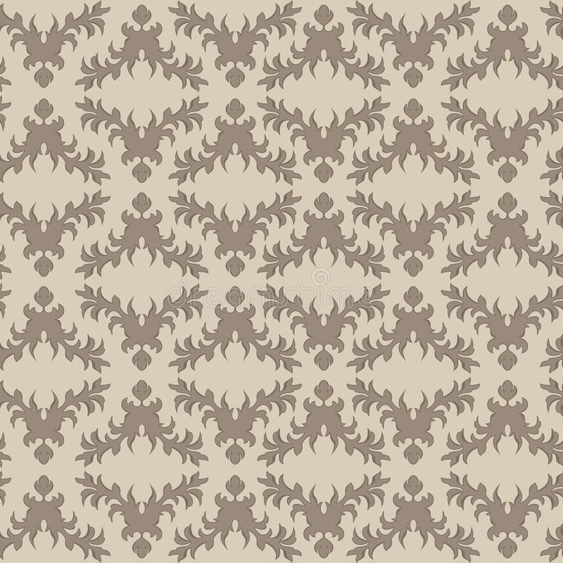 Coffee rhombic seamless pattern on cream background. Vector coffee rhombic seamless pattern on a cream background of twigs and leaves.Print for wrapping paper royalty free illustration