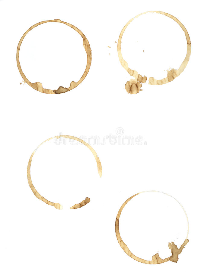 Free Coffee Rings On Pure White Paper. Royalty Free Stock Photo - 651065