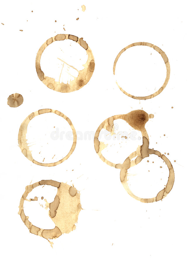 Coffee rings and splatter royalty free stock photography