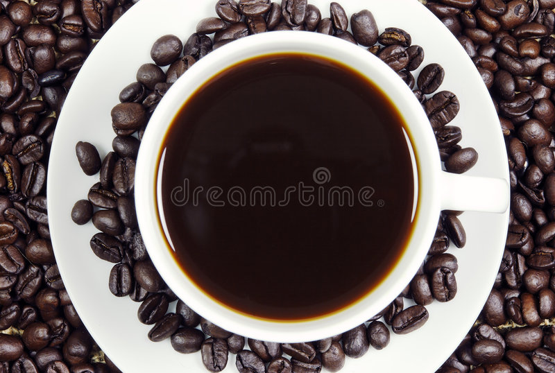 Coffee and roasted beans stock photo