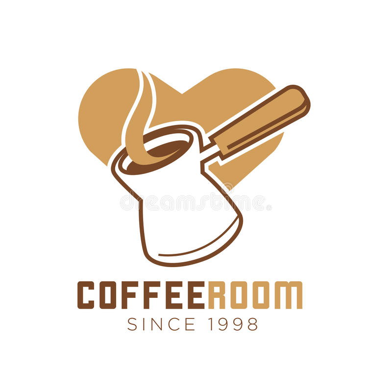 Coffee room cafe vector icon template of heart and maker. Coffee room or cafe logo template of coffee maker with steam and cappuccino heart. Vector isolated icon stock illustration