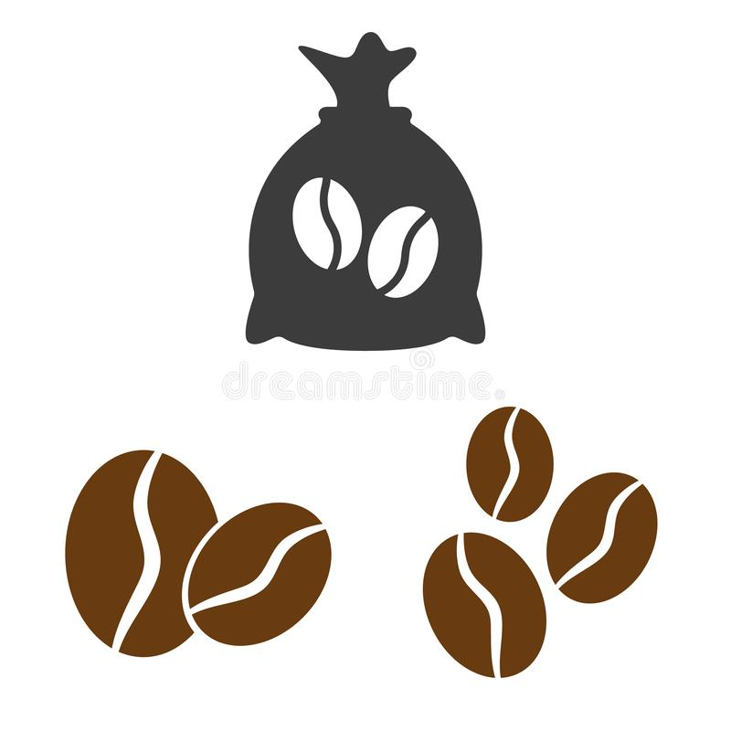 Coffee sack and coffee bean icons on white background. Vector illustration vector illustration