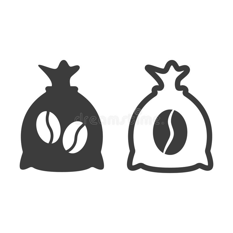 Coffee sack icon on white background. Vector illustration stock illustration